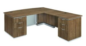 New Pimlico Walnut Modern Bowfront Executive L shape Office Desk