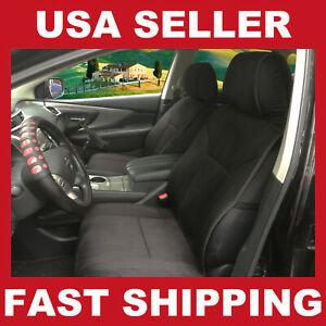 Car Seat Covers Cushions Leather Like 2 Front Black 803e For Nissan