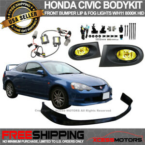 Fits Acura Rsx Front Bumper Lip T R Style Pu Yellow Fog Lights Hid 8000k Combo