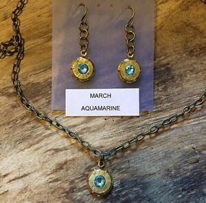 Bullet casing jewelry March birthstone Aquamarine Hanging earrings and necklace