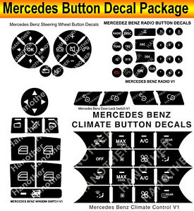 2007 2014 Mercedes Benz Button Repair Package Steering Ac Window Decals Stickers