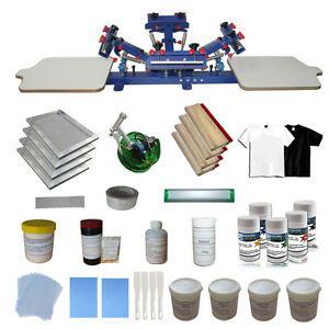 4 Color Silk Screen Printing Press Kit Diy Material 2 Station Adjustable Printer