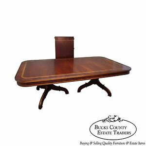 Alfonso Marina Large Hand Crafted Mahogany Inlaid Double Pedestal Dining Table