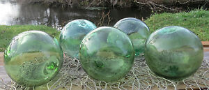 Japanese Glass Fishing Floats 4 4 5 Lot 5 Sea Green Rare Hue Authentic Vntg