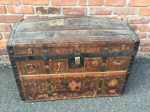 Vtg Behrman Bros Camelback Trunk Storage Chest Steamer Train Luggage Antique