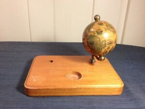 Vintage Antique George F Cram Co Company Terrestrial Globe Earth Inkwell Stand