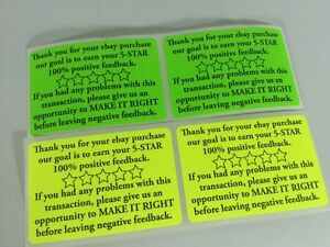 5000 Thank You For Your Ebay Purchase fb 2x3 Yellow Green Fluorescent Neon New