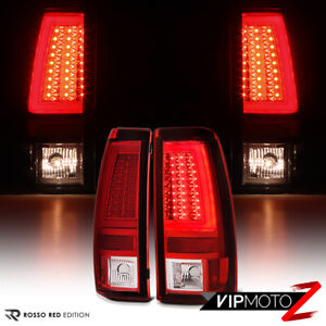 For 03 06 Chevy Silverado 1500 2500 3500 Hd Classic Red Lens Neon Led Tail Light