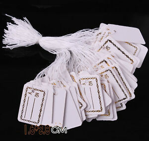 100 Pcs Labels Jewelry Strung Pricing Price Tags With String Silver