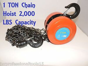 1 Ton Heavy Duty Chain Hoist 2000lbs Lift Hoist Puller Block Hand Tool Winch New