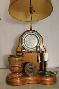 Vintage Custom Hand Made Night Watch Co Table Oak Wood Lamp Kitchen Style Lamp