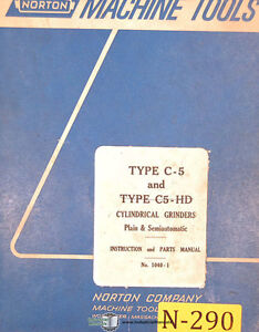 Norton Type C 5 1040 1 Grinders 114 Page Instruction And Parts Manual 1967