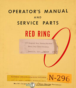 National Broach Gcu 2800 Red Ring Shaving Machine Operation Service Manual 1963