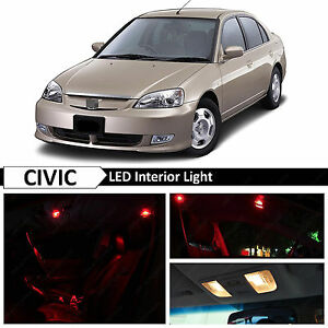 Red Interior Led Light Package Kit Fits 2001 2005 Honda Civic Sedan Coupe