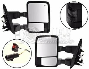 Side Towing Mirrors Ford F250 F350 F450 F550 Smoke Signal Power Heated Set