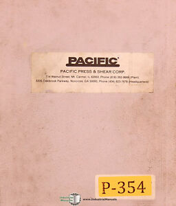 Pacific J Series Press Brakes Operations Install And Maintenance Manual