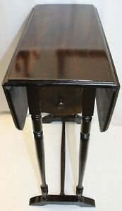 H T Cushman Furniture English Regency Mahogany Pembroke Drop Leaf Side Table
