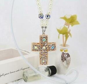 Crystal Cross Car Mirror Pendant Interior Jewelry Decor Hanging Ornament