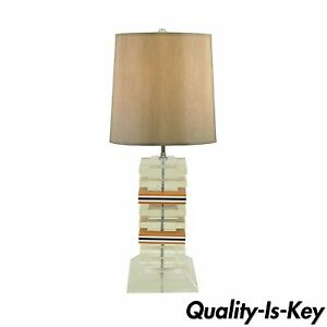 Vintage Mid Century Modern Stacked Lucite Skyscraper Table Lamp Karl Springer