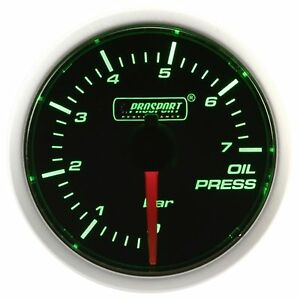 Prosport 52mm Green Super White Led Smoke Oil Pressure Gauge Bar