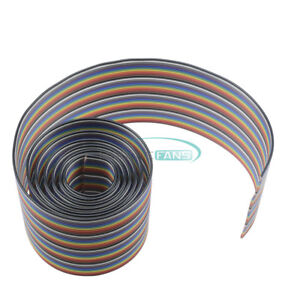 1m 3 3ft 40 Way 40 Pin Flat Color Rainbow Ribbon Idc Wire Rainbow Cable New