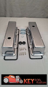 Small Block Chevy Valve Covers Tall Ball Milled Aluminum Sbc 55 86 Polished