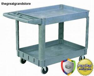Rolling Utility Cart Plastic Heavy Duty Shelves Service Industrial Handcart Push