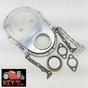 Big Block Chevy Polished Aluminum Timing Cover Bbc 454 396 427 Gaskets Bolts