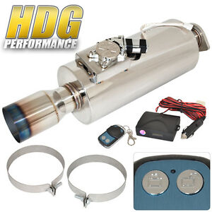Electric Remote Sound Control Inlet 2 5 Outet 4 Tip Exhaust Muffler Silencer