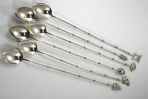 925 Sterling Silver Japanese Bamboo Iced Tea Figural Top Teaspoon Set Of 6