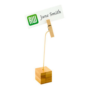 Bamboo Name Card Holder With Wood Clip 5 Inches 100 Count Box