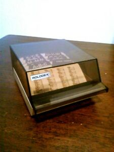 Vintage Rolodex File Box W cards 20 New Usa Beige And Brown Nice