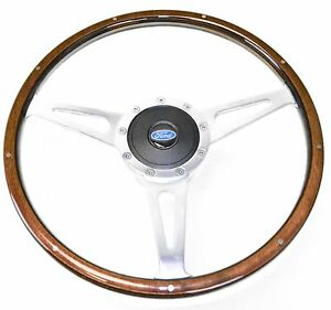 Mustang Steering Wheel Kit Lecarra Style Wood With Ford Emblem 1965 1966