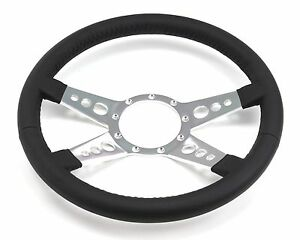 Mustang Steering Wheel Leather Black 4 Spoke W Holes 1965 66 67 68 69 70 71 73