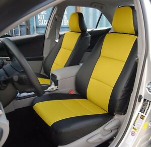 Toyota Camry 2012 2016 Black yellow Leather like Custom Fit Front Seat Cover