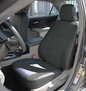 Toyota Camry 2012 2016 Charcoal Leather like Custom Fit Front Seat Cover