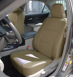 Toyota Camry 2012 2016 Beige Leather like Custom Fit Front Seat Cover