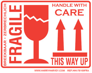 50 Large Fragile This Way Up Handle With Care Stickers Labels 100m X 75mm 4 x3