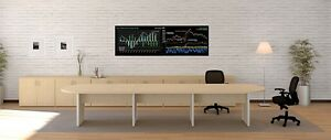 New Amber 14 Racetrack Office Conference boardroom meeting Table W credenza