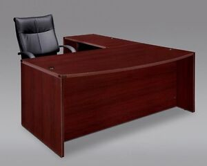 New Amber Bow Front L shape Executive Office Desk With Suspended Pedestals