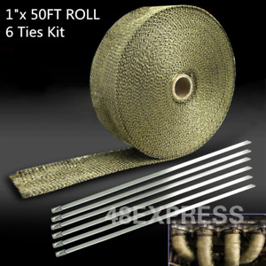 1 X 50ft Roll With Stainless Ties Kit Brand Titanium Exhaust Header Heat Wrap