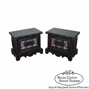 Witco Tiki Elvis Jungle Room Pair Of Carved Redwood Nightstands