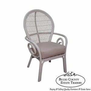 Surfside Casual Vintage White Painted Rattan Fan Back Arm Chair