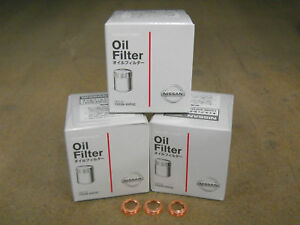 Genuine Nissan Oil Filter 15208 65f0c 3 Pack With Washers New Oem