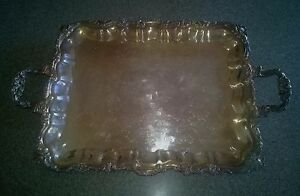 Vintage Sheridan Silver Plated Footed Serving Tray Platter With Handles 20 X 16