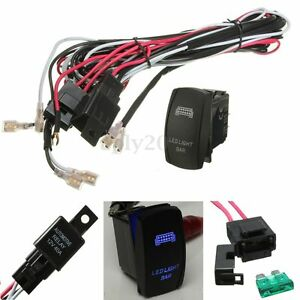 Blue Led Light Bar Rocker Switch Wiring Harness 40a Relay Fuse 12v Suv Atv Jeep