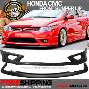 Fit 06 08 Civic 2d Hfp Style Front Bumper Lip Free Add On Lower Splitter
