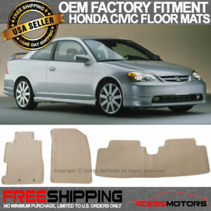 Fit 01 05 Honda Civic 02 05 Honda Civic Si Floor Mats Front Rear Beige 3pc Nylon