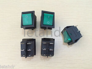 5 10 50 Pcs 6 pin Green Indicator Light Rocker Switch Boat Shape Dpdt