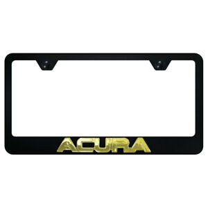 License Plate Frame Gold With Acura 3d On Black Metal officially Licensed